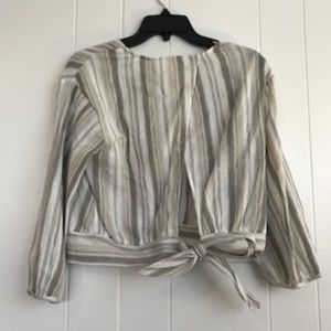 june & hudson Tops - Stripped tie blouse